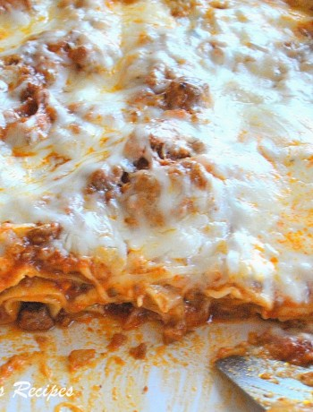 Easy Meat Lasagna with NO Boil Noodles - Lightened! by 2sistersrecipes.com