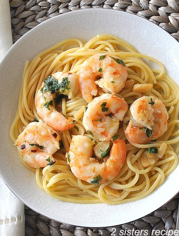 Spaghetti with Shrimp Olive Oil Garlic & Wine by 2sistersrecipes.com