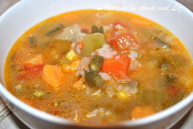 Hearty Vegetable and Rice Soup. by 2sistersrecipes.com