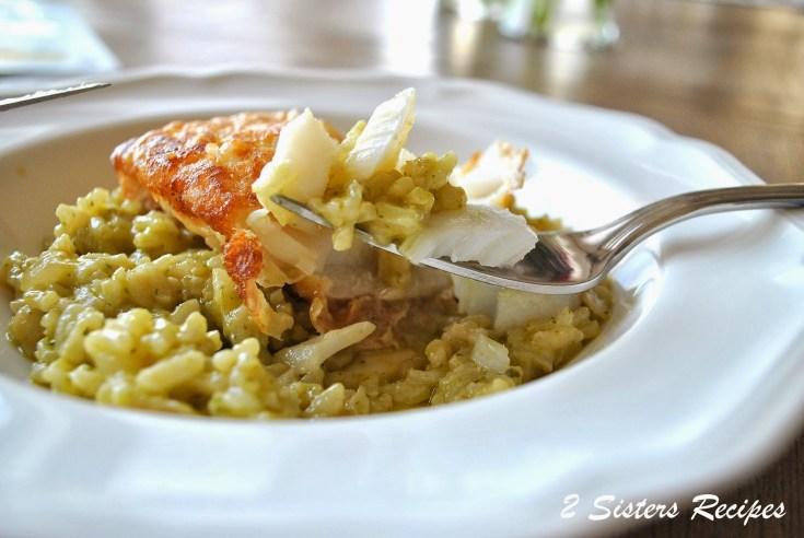 Cod Fillet over Pesto Risotto