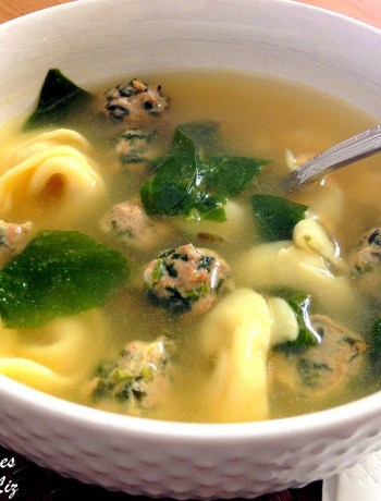Italian Wedding Soup with Spinach Meatballs by 2sistersrecipes.com
