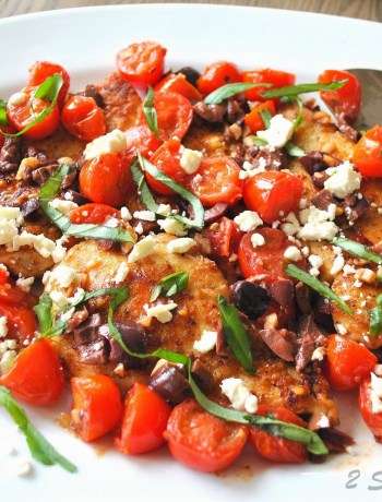 Sauteed Chicken Cutlets with Cherry Tomatoes, Feta, Olives and Basil by 2sistersrecipes.com