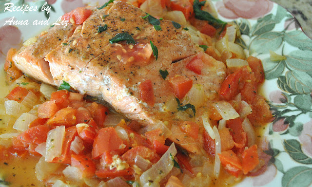 Pan Seared Salmon with Zesty Tomato-Onion Relish by 2sistersrecipes.com