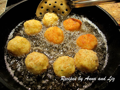 Frying rice ballls in a skillet by 2sistersrecipes.com