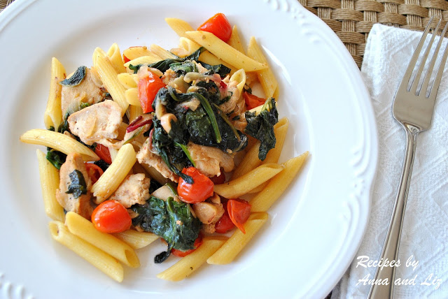 Penne Tossed with Sauteed Chicken, Kale and Cherry Tomatoes by 2sistersrecipes.com