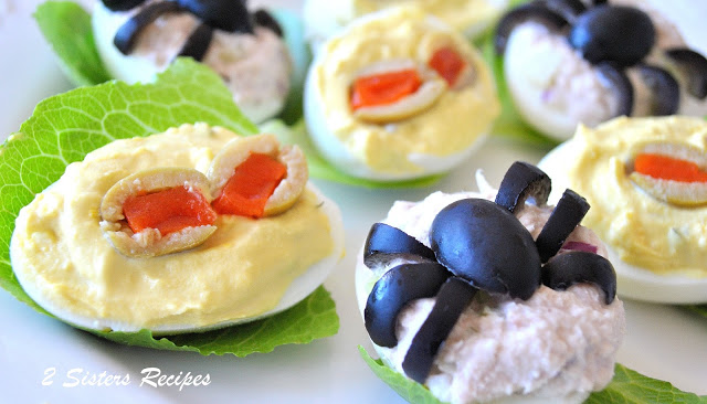 Spooky Deviled Eggs - 2 recipes by 2sistersrecipes.com