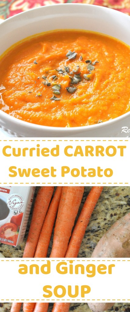 Curried Carrot and Sweet Potato Ginger Soup by 2sistersrecipes.com