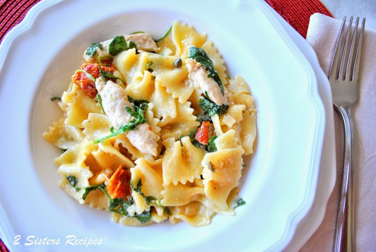 Farfalle with Chicken Capers Sundried Tomatoes and Spinach