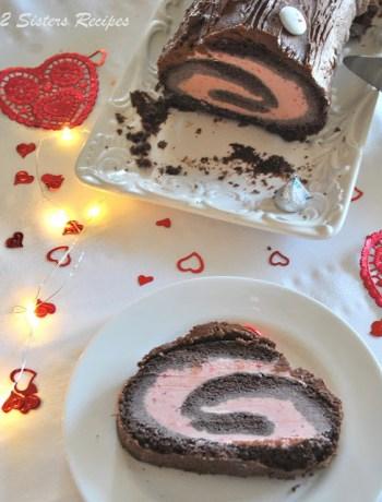 Dark Chocolate & Strawberry Ice Cream Roll by 2sistersrecipes.com