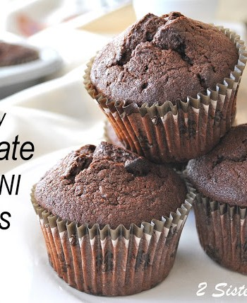 Death by Chocolate Zucchini Muffins by 2sistersrecipes.com