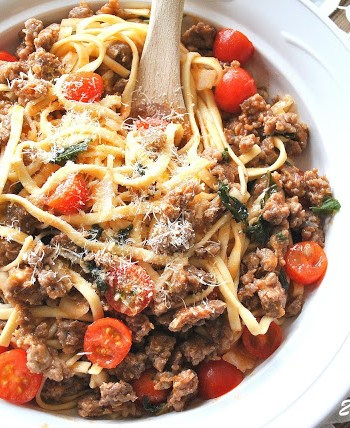 Tagliatelle with Fresh Tomato Sausage Ragu by 2sistersrecipes.com