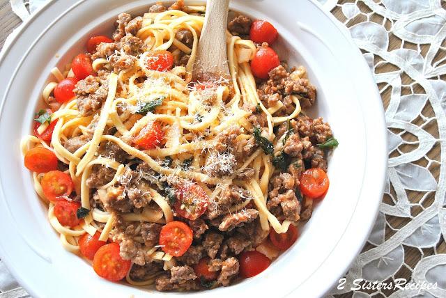 Tagliatelle with Fresh Tomato Sausage Ragu by 2sistersrecipes.com