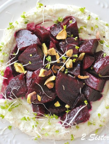 Beet Salad with Pomegranate Vinaigrette over Creamy Ricotta