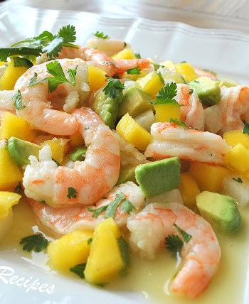Zesty Lemon Shrimp and Mango Salad by 2sistersrecipes.com