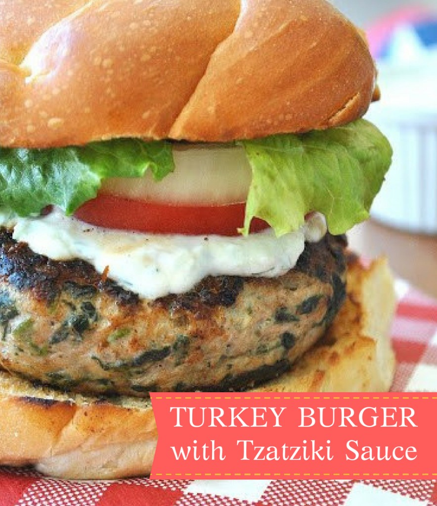 Turkey Burger with Tzatziki Sauce by 2sistersrecipes.com