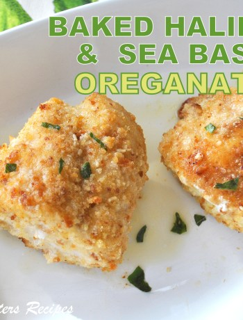 Baked Halibut and Sea Bass Oreganata , by 2sistersrecipes.com