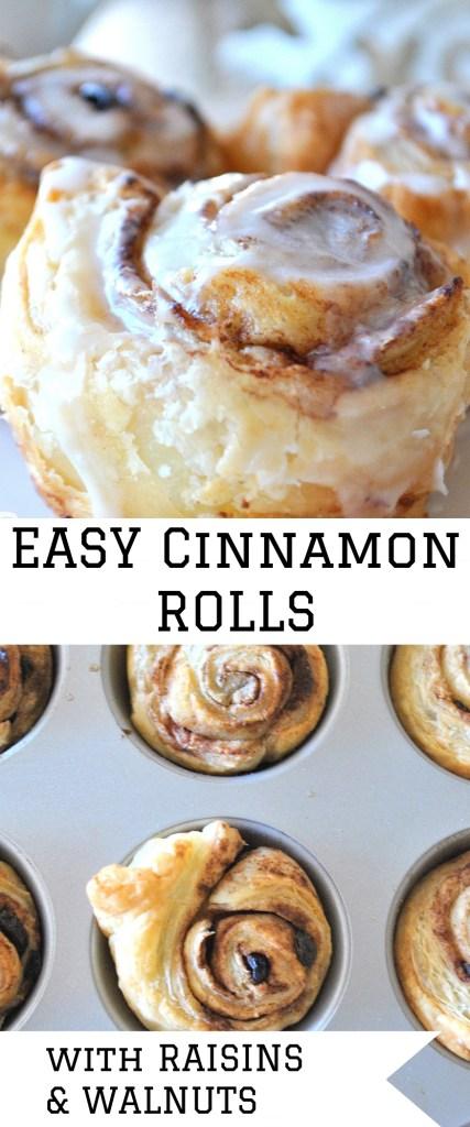 Easy Cinnamon Rolls with Raisins and Walnuts by 2sistersrecipes.com