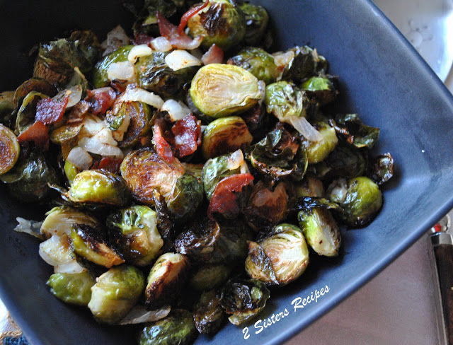 Roasted Brussels Sprouts with Bacon by 2sistersrecipes.com