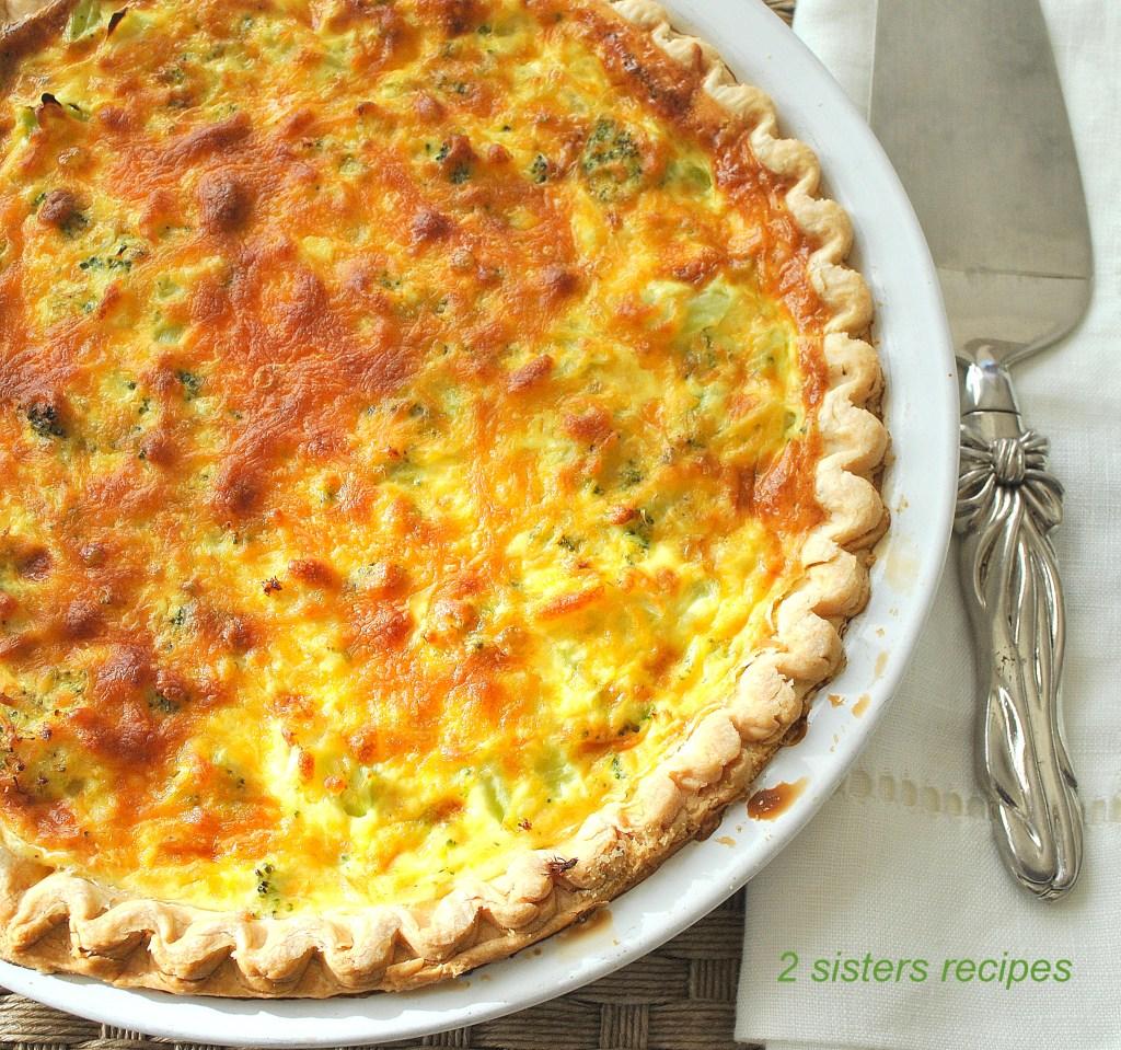 Easy Broccoli and Cheese Quiche by 2sistersrecipes.com