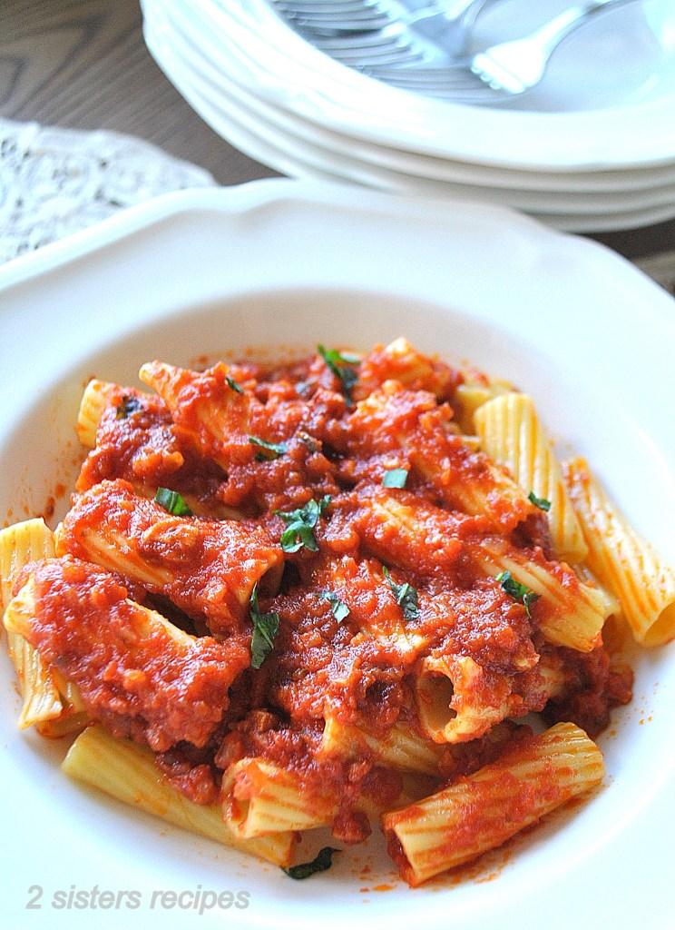Rigatoni all' Amatriciana by 2sistersrecipes.com