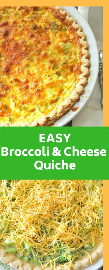 Easy Broccoli and Cheese Quiche by 2sistesrecipes.com