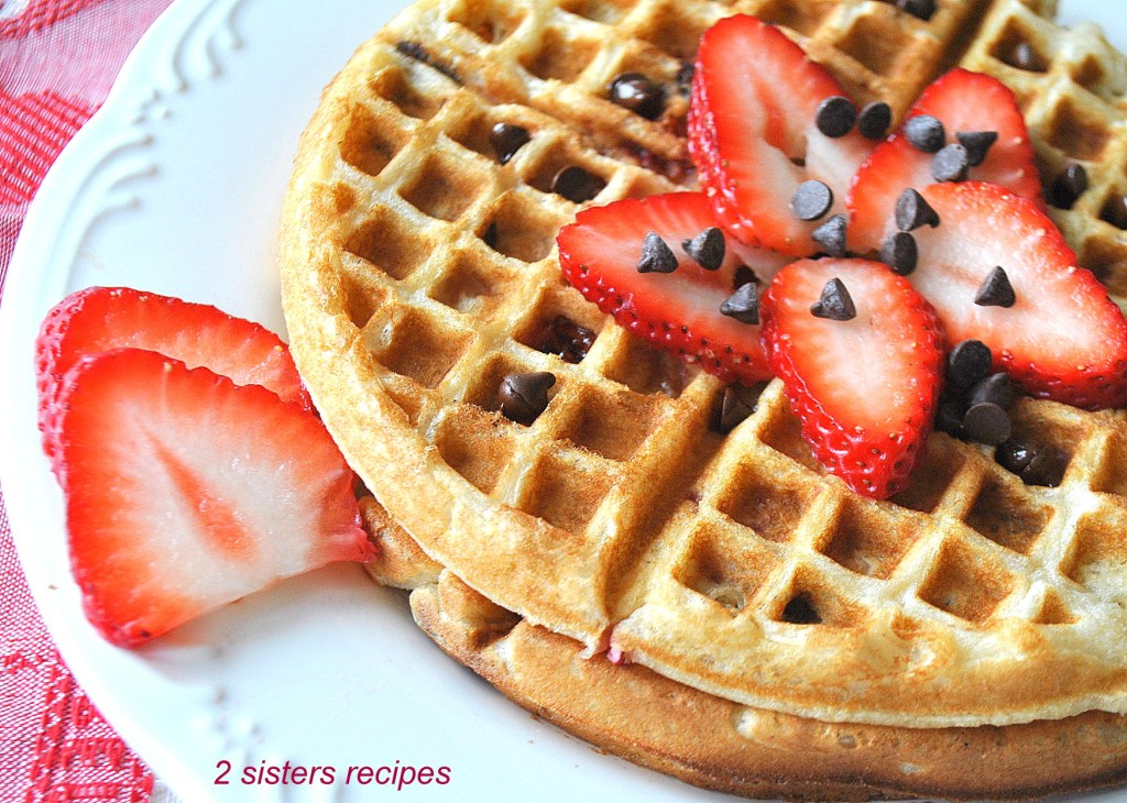 Strawberry and Chocolate Chip Waffles by 2sistersrecipes.com