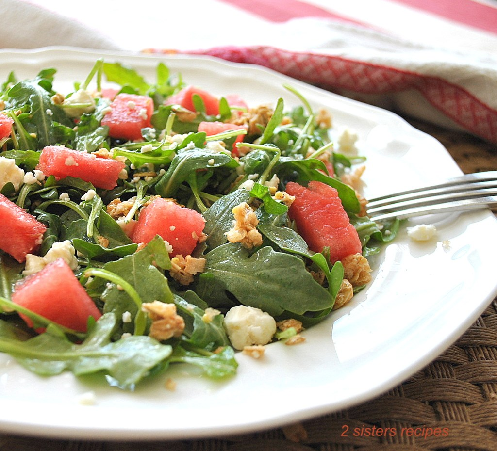 Babay Arugula Watermelon Granola Salad by 2sistersrecipes.com