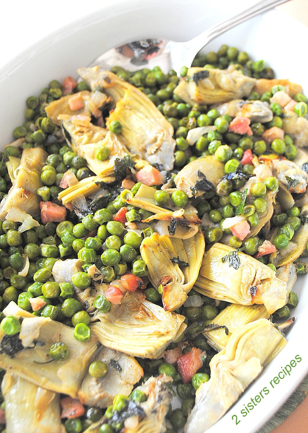Baked Peas and Artichoke Hearts by 2sistersrecipes.com