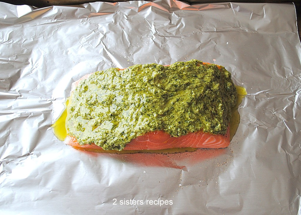 Baked Salmon with Dijon Basil Pesto by 2sistersrecipes.com