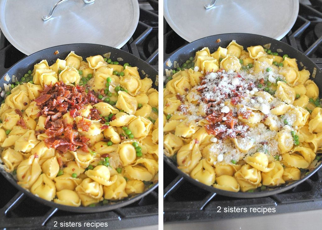 Tortellini cooking in a skillet with peas, bacon and cheese.