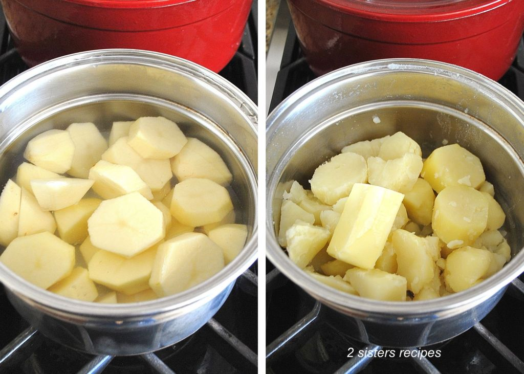 Potatoes in a pot of water then drained. by 2sistersrecipes.com