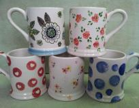 A Selection of Painted Mugs