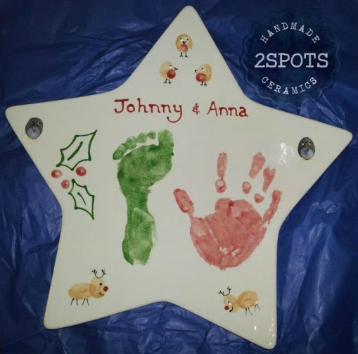 A gift for Mum & Dad personalised by hand, foot and finger prints!