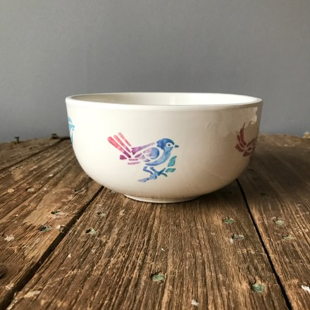 Hen Party Stencilled Bird Bowl
