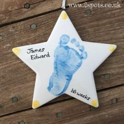 Blue Footprint Star with Big Sister Fingerprint Spots