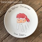 Father Christmas Handprint Plate 2spots Ceramics Handmade Pottery In Winchester Hampshire