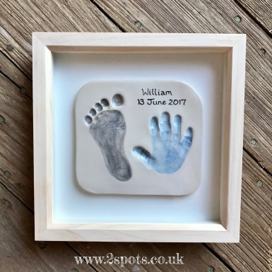 Imprint Blue and Grey in a Natural Wood Frame