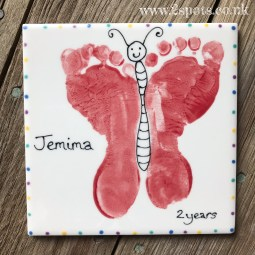 Red Butterfly Footprint Tile