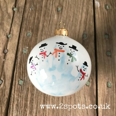 Snowman Handprint Bauble