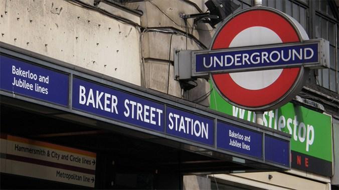 London Underground roundel and Baker Street Station sign