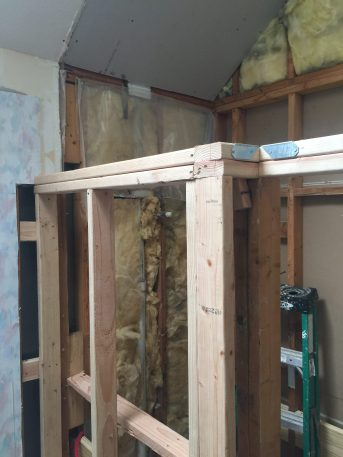During -- Shower structure to support tile walls