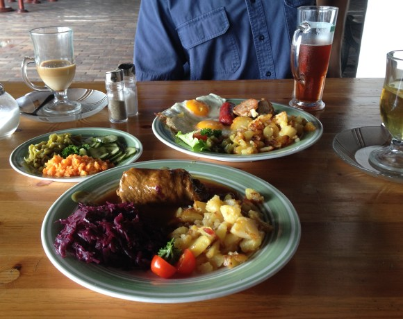 Authentic German lunch with German beer, latte and tea for $12 total.