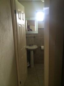 The bathroom door is kinda skinny.