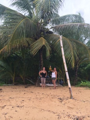Pamela found a coconut. We could totally survive if this was a deserted island!