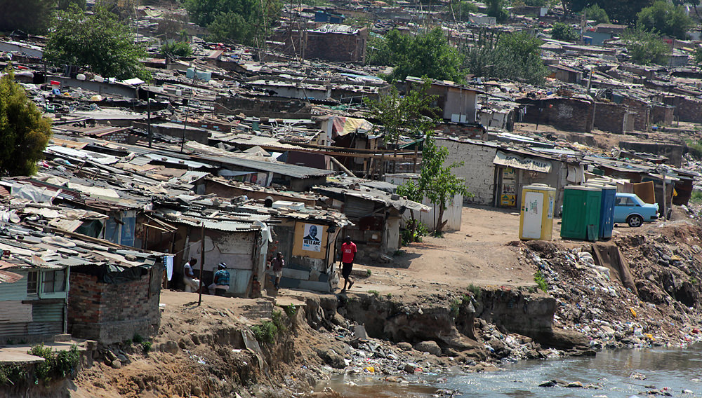 A shanty town in Alexandra, along the Jukskei River