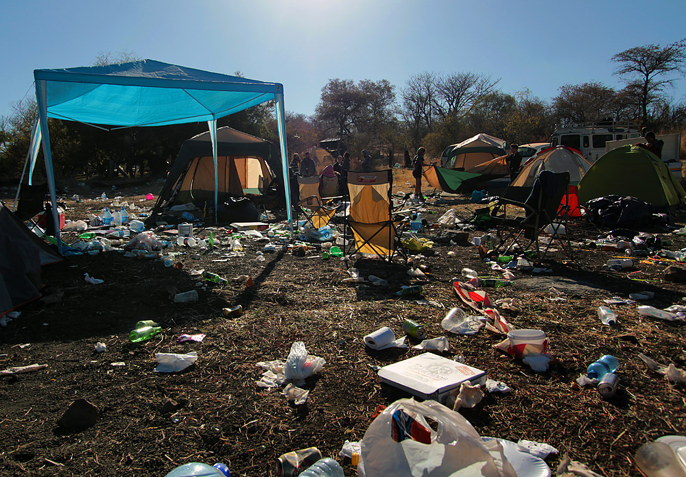 Rubbish at a camp site at OppiKoppi.