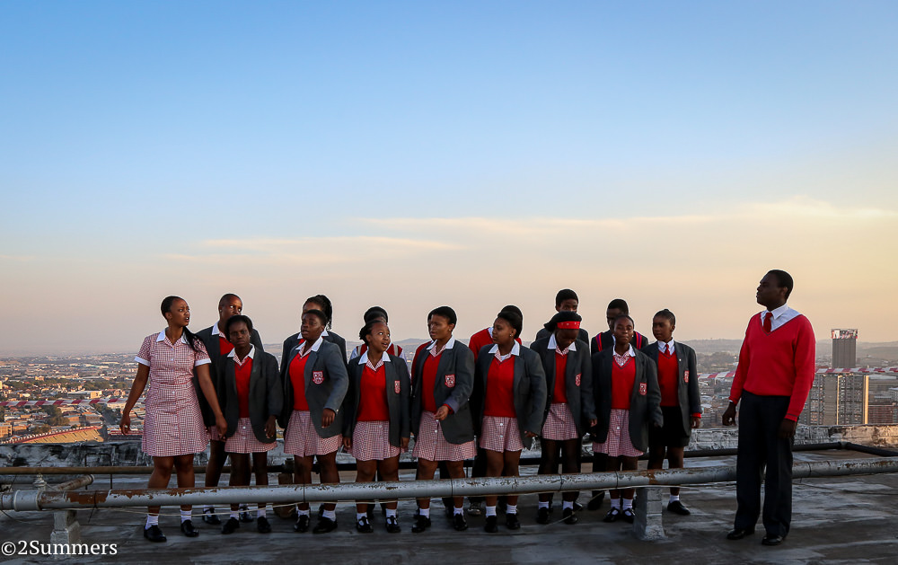 The Barnato Park High School Choir performs on the roof of the Tygerberg.
