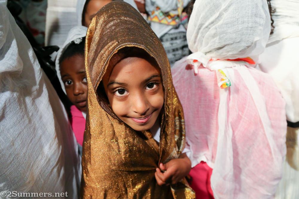 Smiling girl in Ethiopian Church