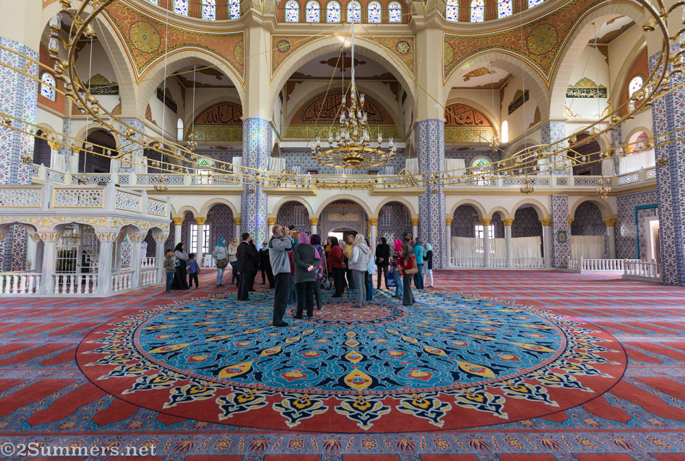 People gathered inside the Nizamiye mosque