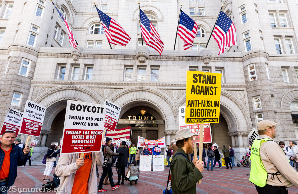 Protesters in front of Trump hotel